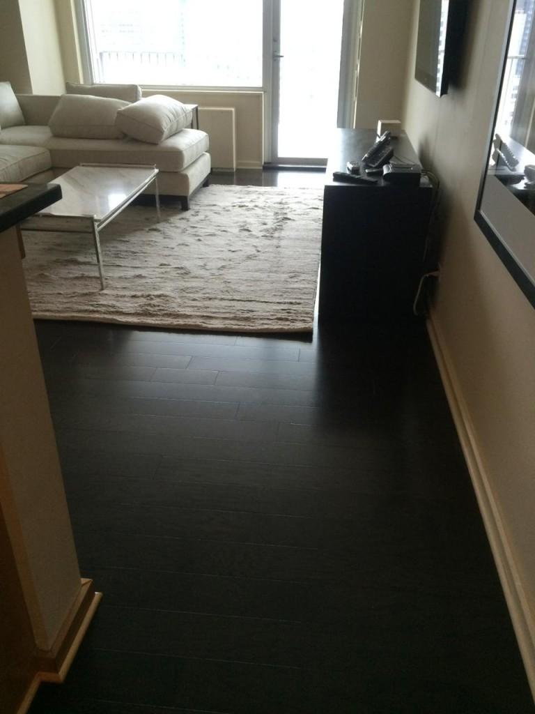 Prefinished Dark Stained Hardwood Floor Intallation