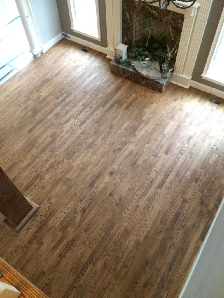 Red Oak hardwood floors with custom stain