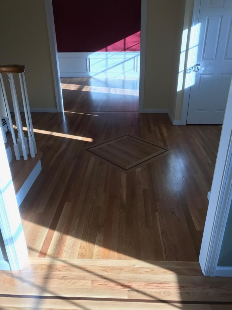 white oak floors with walnut inlay