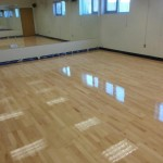 shiney hardwood flooring in studio