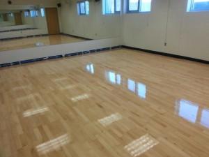shiney hardwood flooring in studio