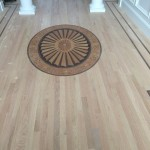red oak floors with custom design