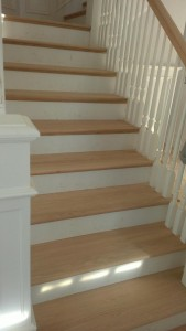Red Oak hardwood floors on staircase