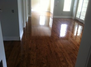 red oak hardwood floors after staining