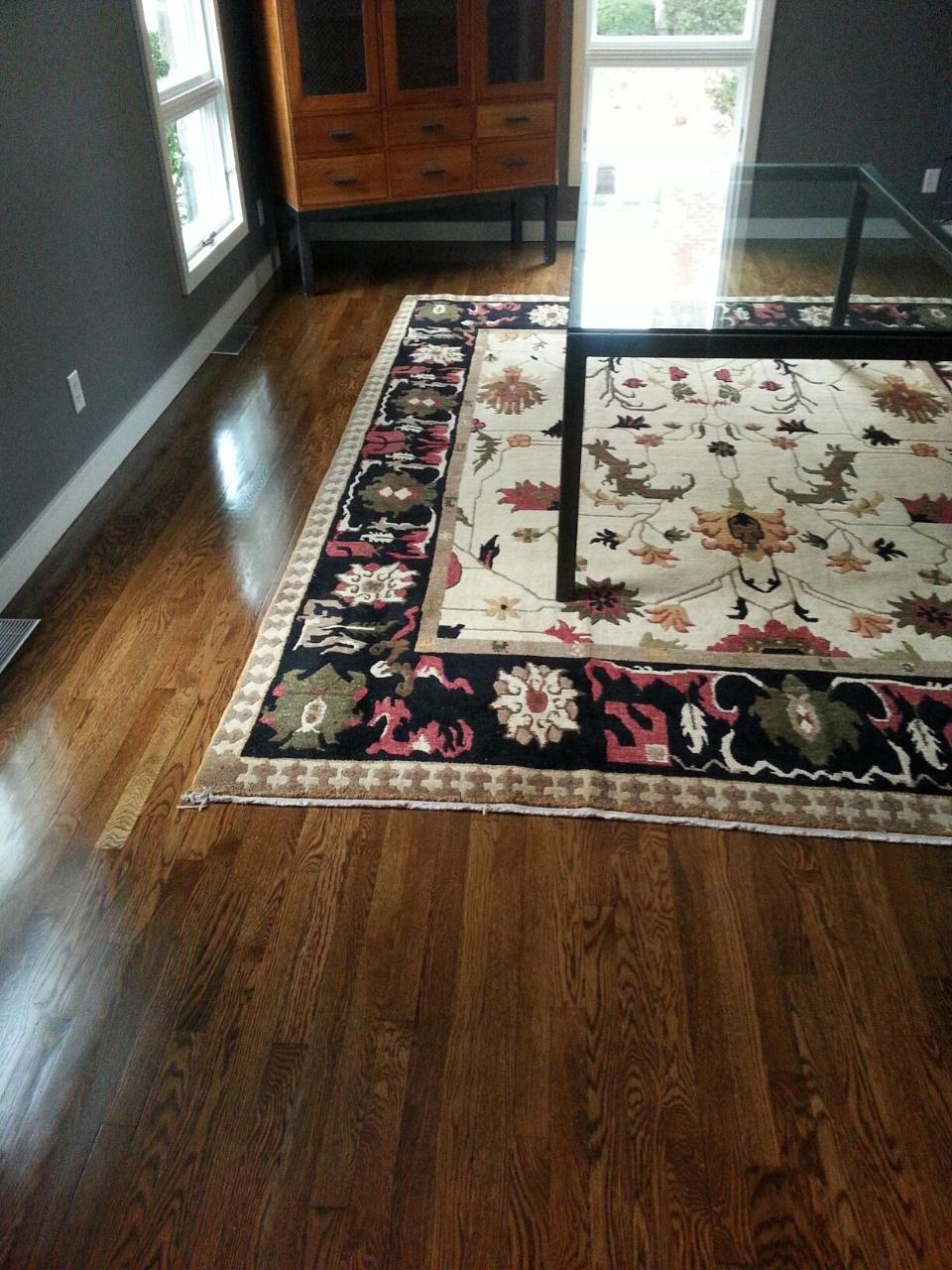 Dark Walnut Stain White Oak Hardwood Floors In Wellesley MA