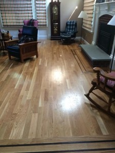 shiney hardwood floors in living room