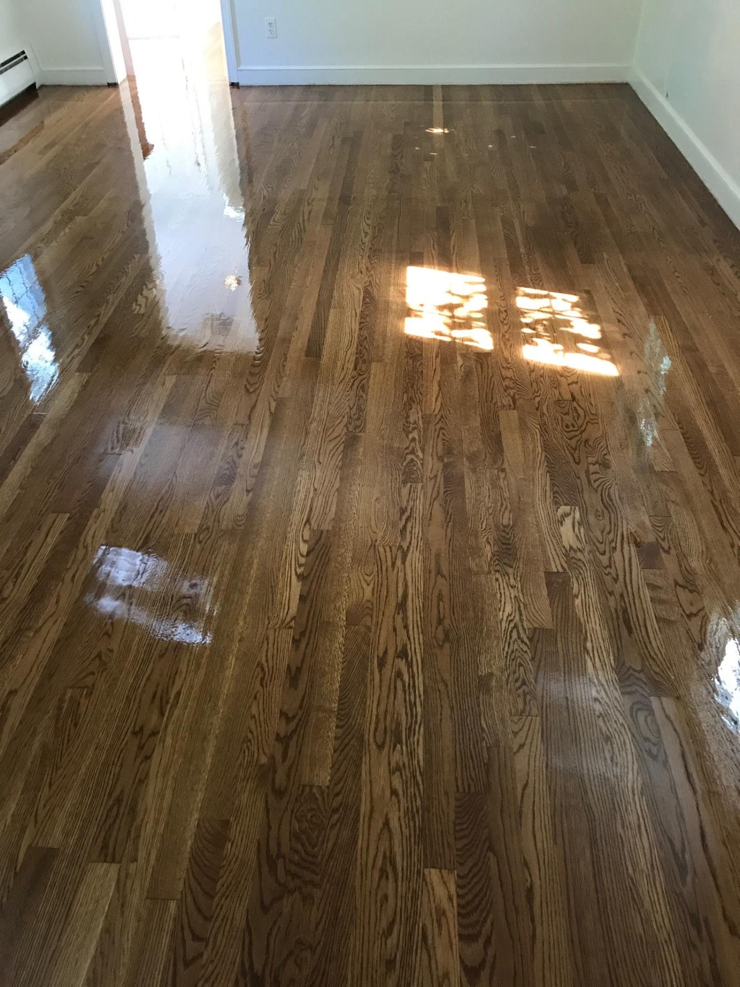 Oak Wood Stains ~ White oak hardwood floors with golden brown stain