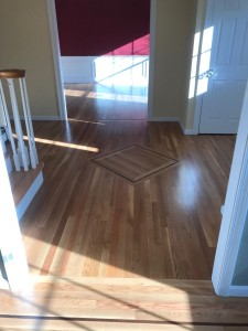 white oak floors with walnut inlay