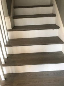 red oak with grey stain