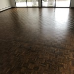 parquet flooring sanded and stained with dura seal antique brown