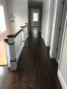 "3"" red oak floors with dark walnut stain"