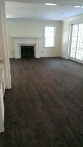 """after refinishing, 3"""" red oak with stain"""