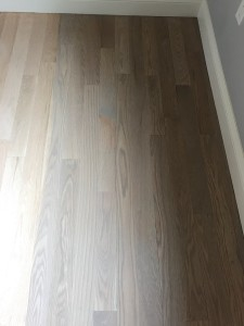 """4"""" red oak with silvered gray stain"""