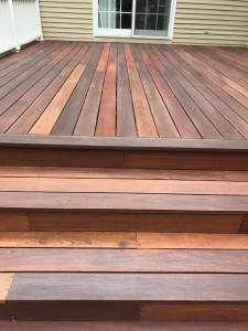 mahogany deck with arbor coat finish