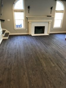 2-inch red oak finished with jacobean stain