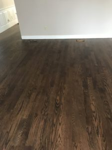 2-inch red oak with medium brown stain