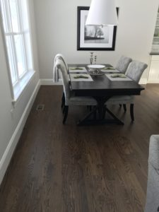 3-inch red oak finished with medium brown stain and bona traffic finish
