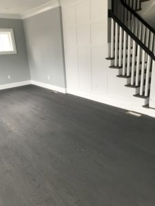 3-inch red oak finished with two coats of dark gray stain