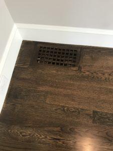 New construction- white oak hardwood with dark walnut stain & oil based finish