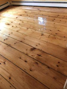 Reclaimed pine flooring with oil based polyurethane finish