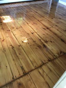 Reclaimed pine hardwood flooring with oil based polyurethane finish