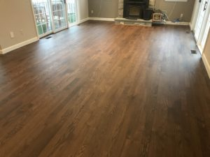 Red oak flooring finished with medium brown satin and Bona Traffic finish (2)