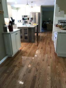 Red oak flooring finished with oil based polyurethane