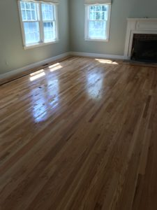 Red oak flooring installed with oil based polyurethane