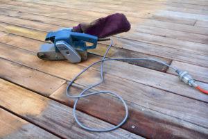 hardwood floors being refinished